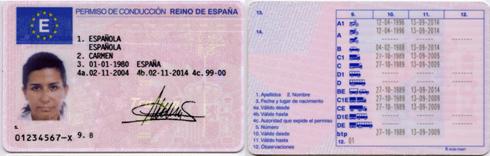 Spanish driver's licence translation